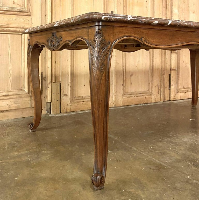 Antique French Louis XV Walnut Marble-Top Dining Table For Sale 3