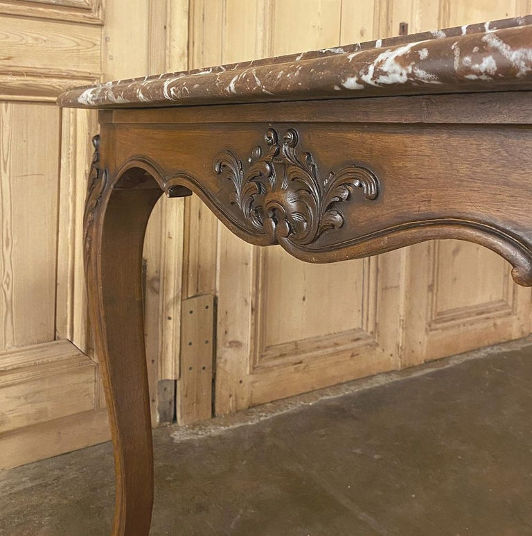 Antique French Louis XV Walnut Marble-Top Dining Table For Sale 4