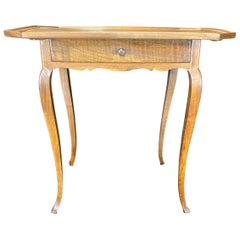 Antique French Louis XV Walnut Side Table with Lovely Raised Gallery