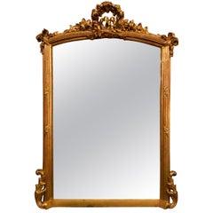 Antique French Louis XVI Beveled Gilt Mirror, circa 1880
