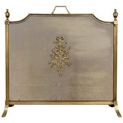 Antique French Louis XVI Brass and Bronze Firescreen