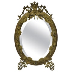 Antique French Louis XVI Brass Frame Oval Beveled Glass Mirror Bronze Ormolu