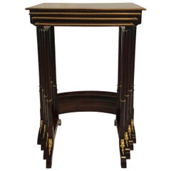 Antique French Louis XVI Bronze Doré and Mahogany Nest of Tables