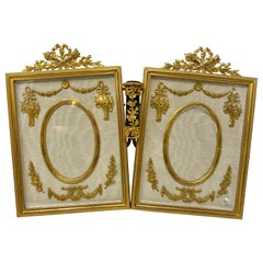 Antique French Louis XVI Bronze D'Ore Double Picture Frame with Flower Holder