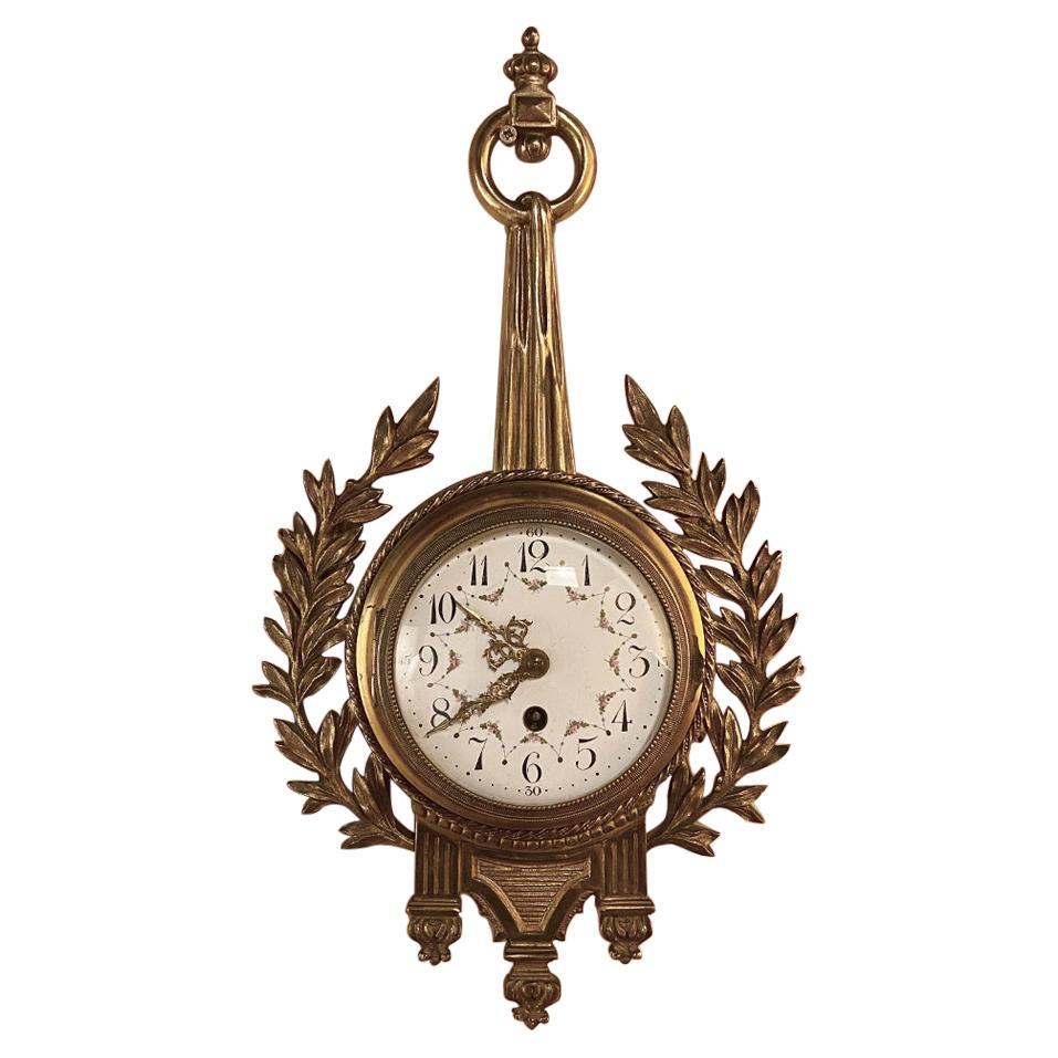 Antique French Louis XVI Bronze Wall Clock, Cartel