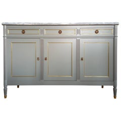 Antique French Louis XVI Buffet, Marble Top, Brass & Bronze Details