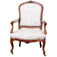 Antique French Louis XVI Carved Fruitwood Upholstered Armchair, 20th Century