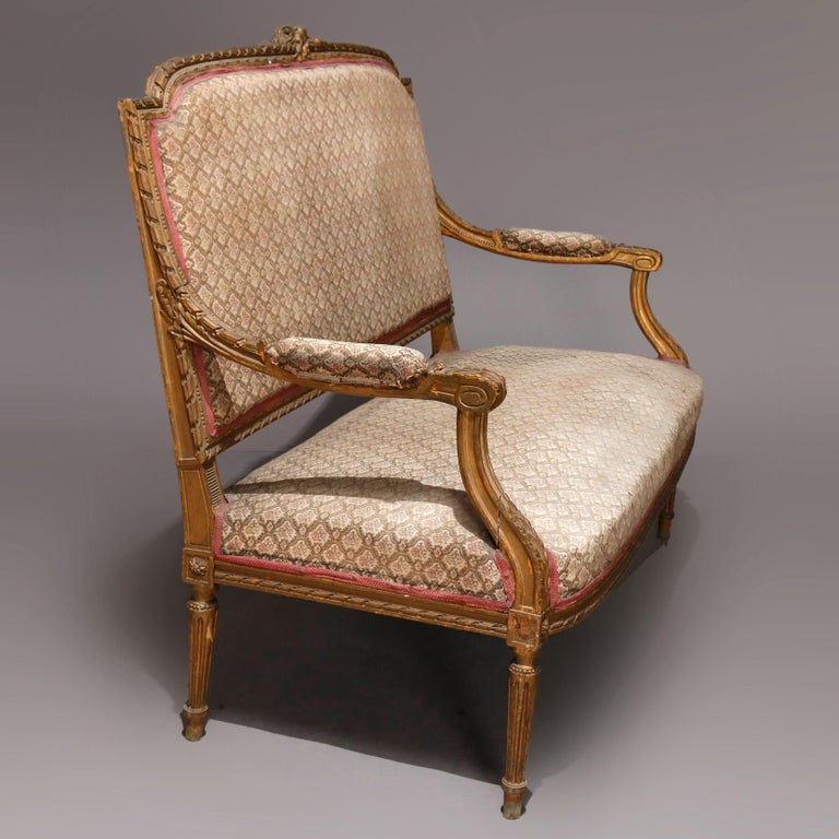 Antique French Louis XVI Carved Giltwood Parlor Settee, 19th Century In Good Condition For Sale In Big Flats, NY