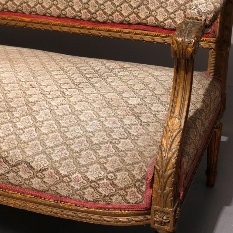 Antique French Louis XVI Carved Giltwood Parlor Settee, 19th Century For Sale 1