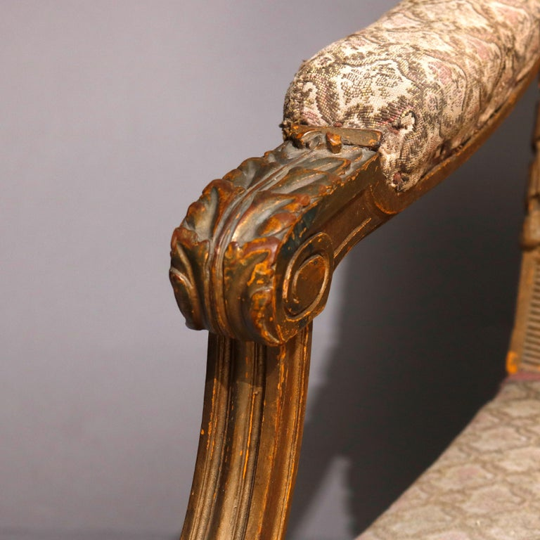 Antique French Louis XVI Carved Giltwood Parlor Settee, 19th Century For Sale 2