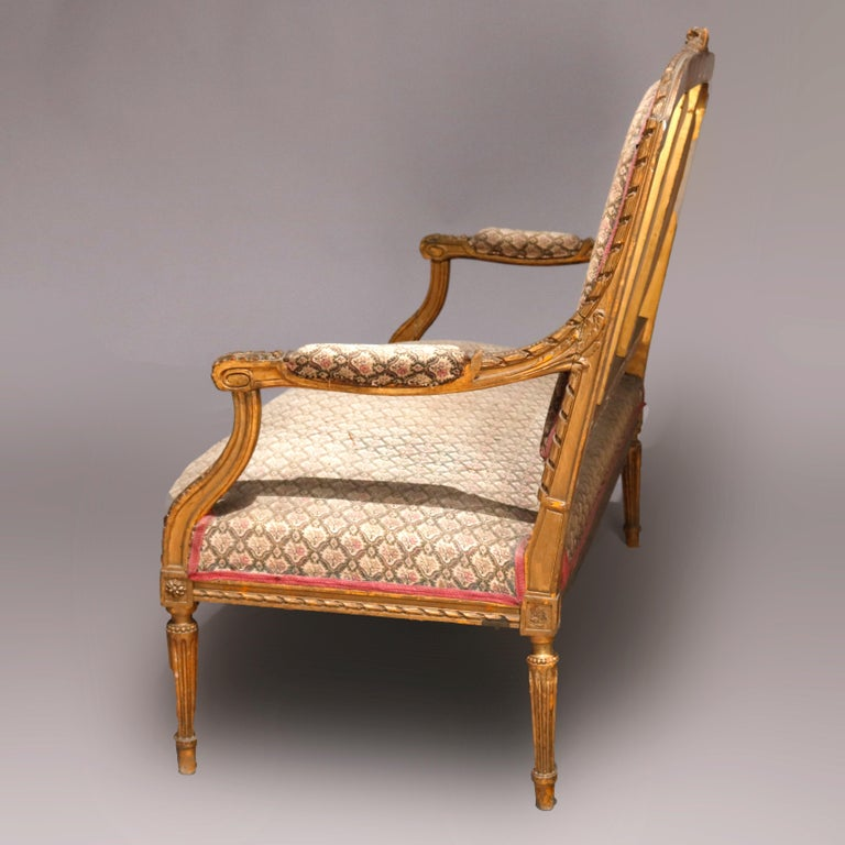 Antique French Louis XVI Carved Giltwood Parlor Settee, 19th Century For Sale 4