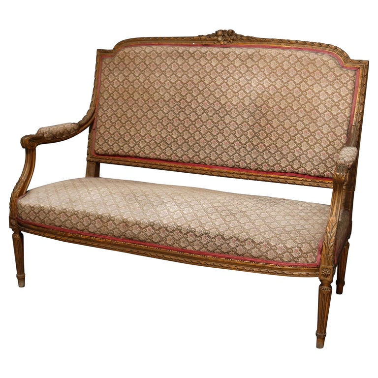 Antique French Louis XVI Carved Giltwood Parlor Settee, 19th Century For Sale