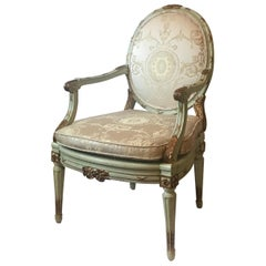 Antique French Louis XVI Carved Parcel Gilded Armchair Fauteuil