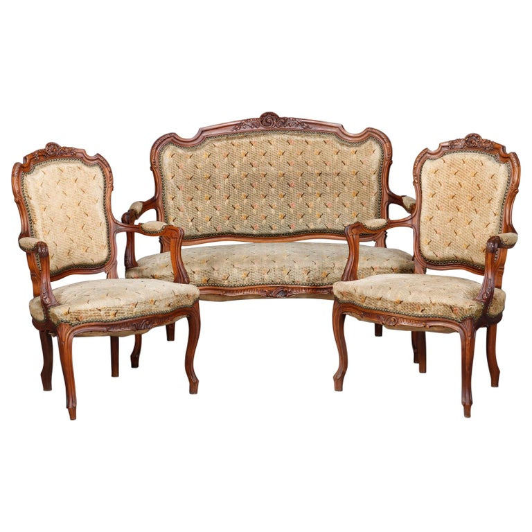 Antique French Louis XVI Carved Walnut Parlor Set, Settee and Armchairs For Sale