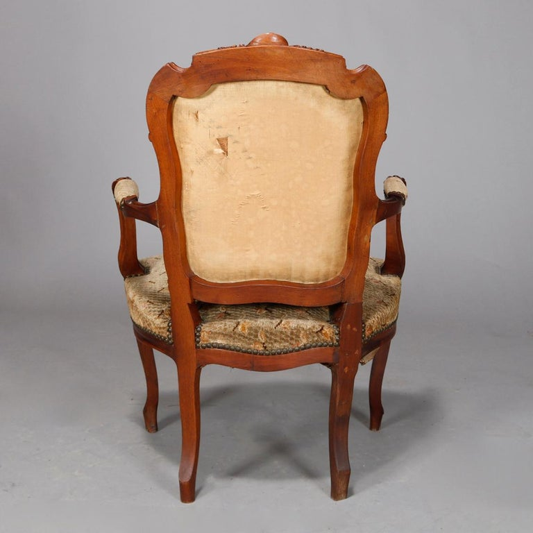 Antique French Louis XVI Carved Walnut Parlor Set, Settee and Armchairs For Sale 5