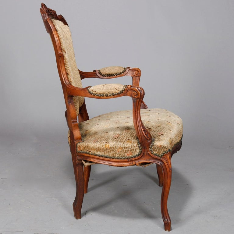 Antique French Louis XVI Carved Walnut Parlor Set, Settee and Armchairs For Sale 6