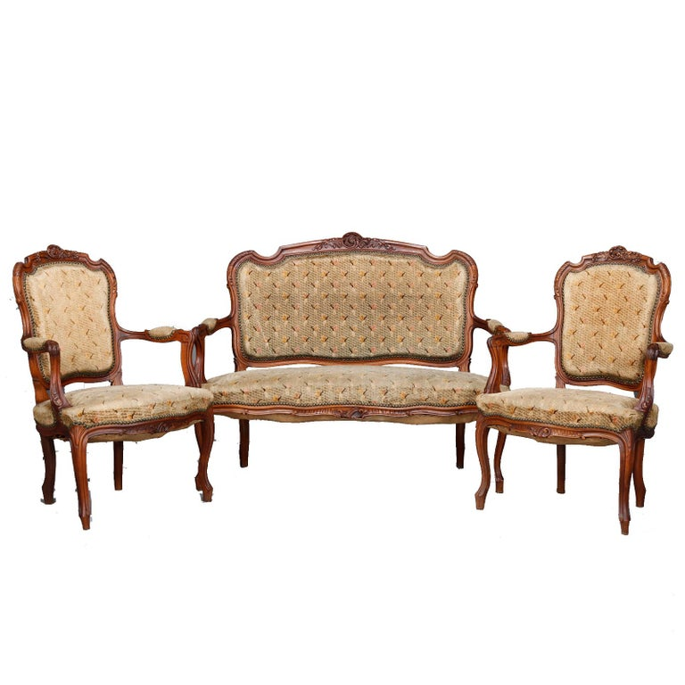 Antique French Louis XVI Carved Walnut Parlor Set, Settee and Armchairs For Sale 7