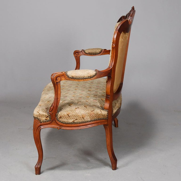 19th Century Antique French Louis XVI Carved Walnut Parlor Set, Settee and Armchairs For Sale