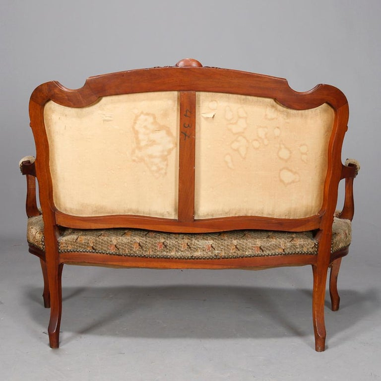 Upholstery Antique French Louis XVI Carved Walnut Parlor Set, Settee and Armchairs For Sale