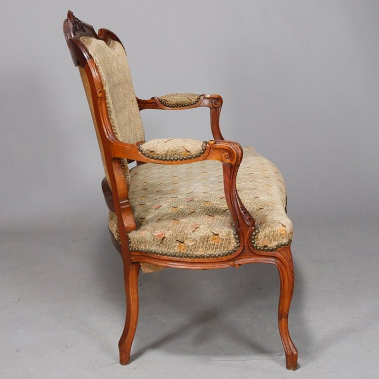 Antique French Louis XVI Carved Walnut Parlor Set, Settee and Armchairs For Sale 1
