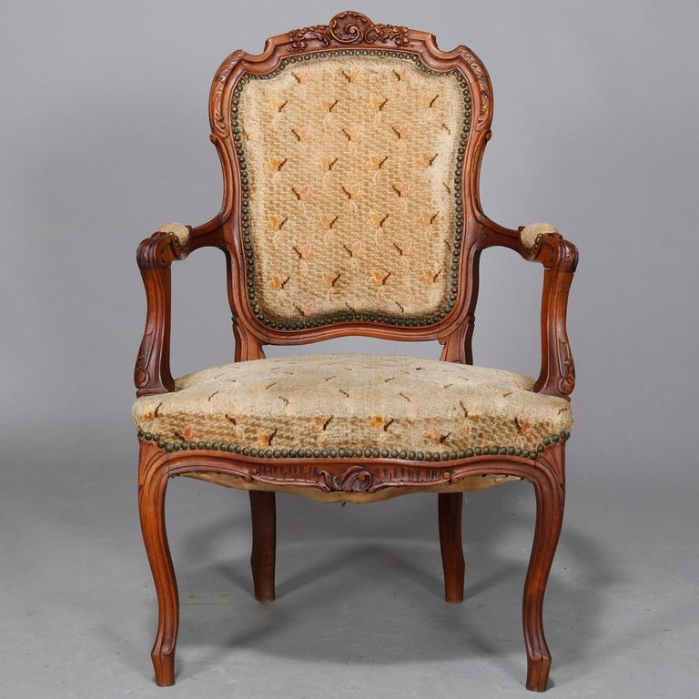 Antique French Louis XVI Carved Walnut Parlor Set, Settee and Armchairs For Sale 2