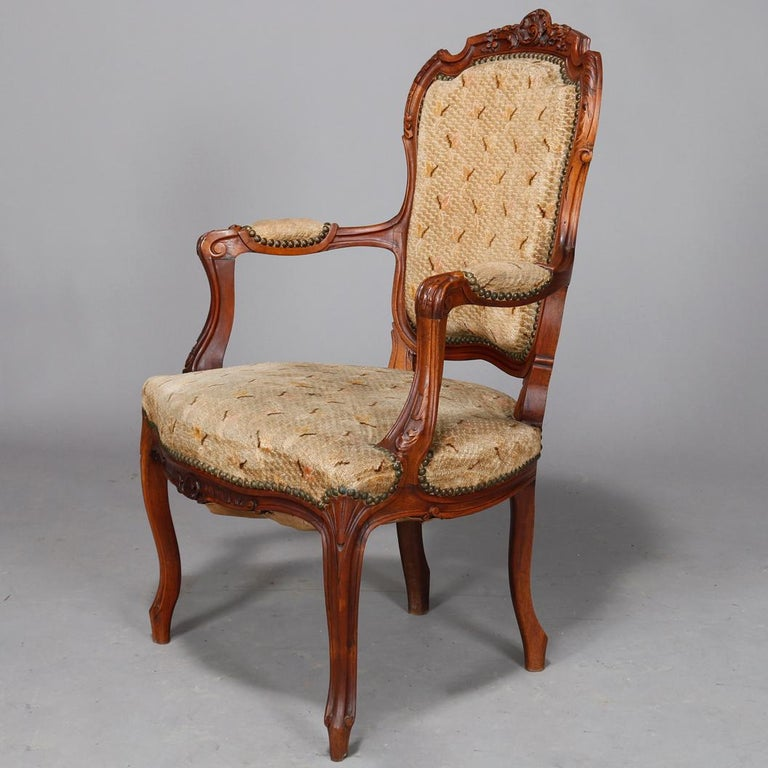 Antique French Louis XVI Carved Walnut Parlor Set, Settee and Armchairs For Sale 3