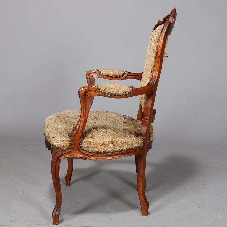 Antique French Louis XVI Carved Walnut Parlor Set, Settee and Armchairs For Sale 4