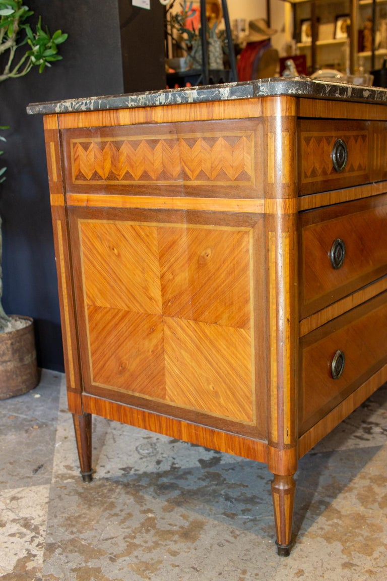Early 20th Century Antique French Louis XVI Commode with Veneer Marquetry and Belgian Marble Top