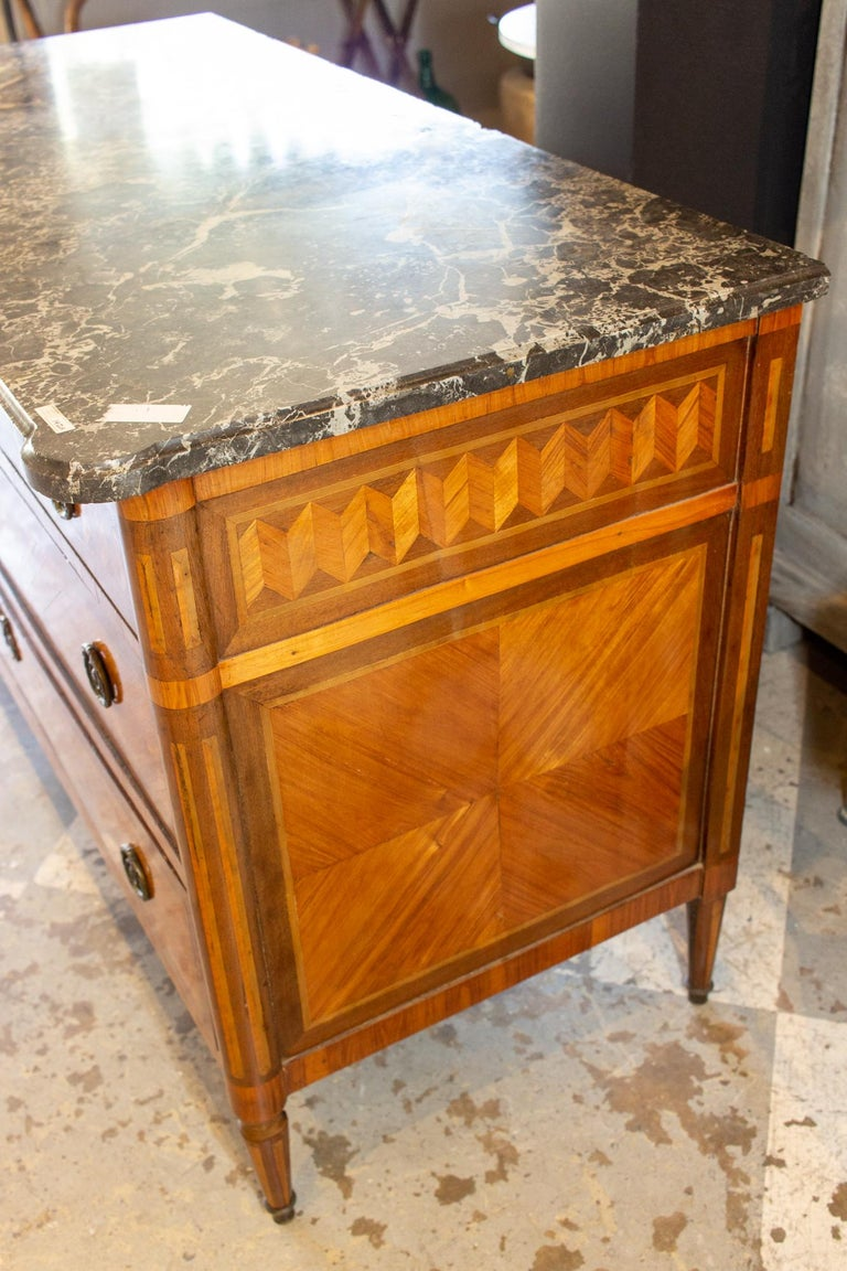 Brass Antique French Louis XVI Commode with Veneer Marquetry and Belgian Marble Top