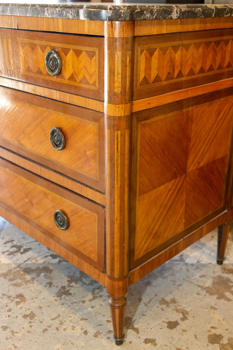 Antique French Louis XVI Commode with Veneer Marquetry and Belgian Marble Top 1