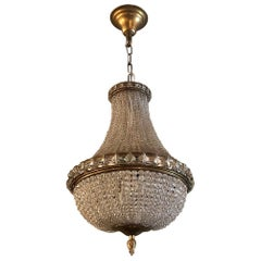 Antique French Louis XVI Crystal Sack of Pearls Chandelier