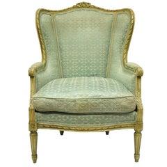 Antique French Louis XVI Distress Painted Cream Bergère Chair Armchair