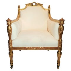 Antique French Louis XVI Finely Carved Gold Leaf Arm Chair circa 1880-1890