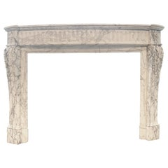 Antique French Louis XVI Fireplace Mantel in Calacatta Marble