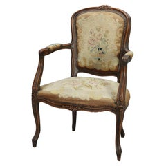 Antique French Louis XVI Fruitwood and Needlepoint Fauteuil Armchair, circa 1890