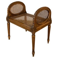 Antique French Louis XVI Fruitwood Caned Armbench, Vanity Bench