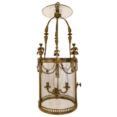 Antique French Louis XVI Gold Bronze Hall Lantern, circa 1880-1890