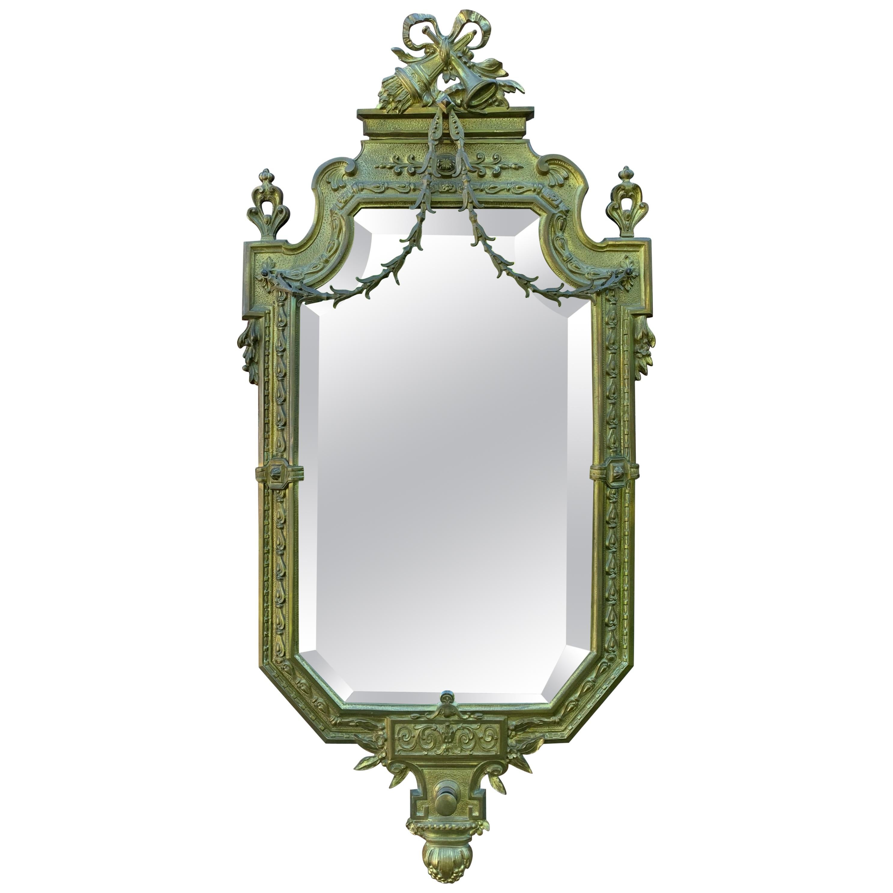 Antique French Louis XVI Handcrafted and Finely Detailed Gilt Bronze Wall Mirror