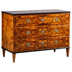 Antique French Louis XVI Inlaid Walnut Neoclassical Chest of Drawers, circa 1790