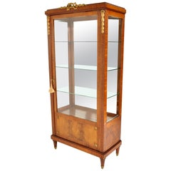 Antique French Louis XVI Inlaid Walnut Vitrine Bibliotheque Bookcase Ormolu 1890