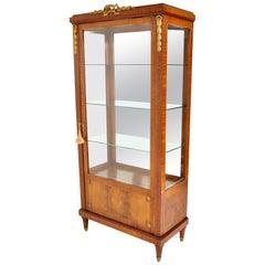 Antique French Louis XVI Inlaid Walnut Vitrine Bibliotheque Bookcase Ormolu 1890