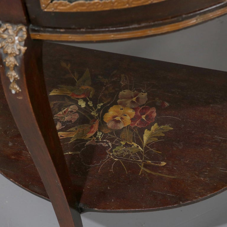 Antique French Louis XVI Mahogany and Ormolu Demilune Mirror Back Vitrine For Sale 5