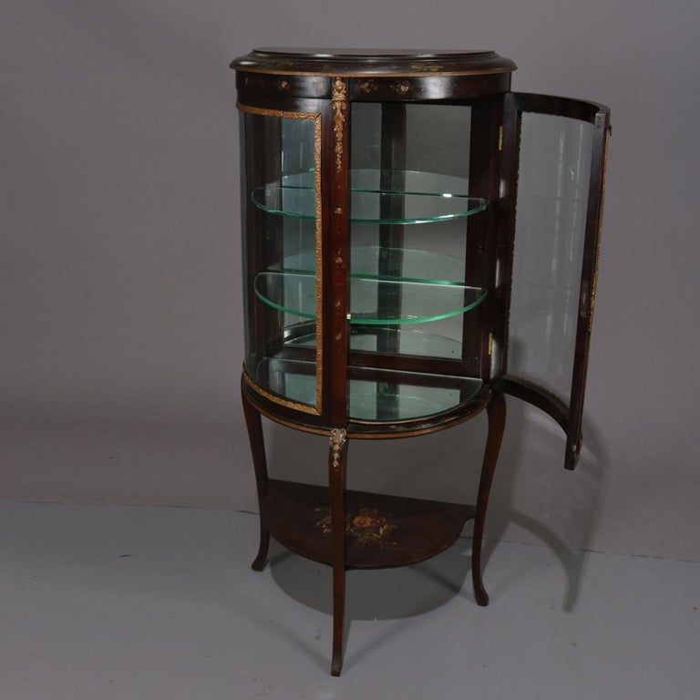 Gilt Antique French Louis XVI Mahogany and Ormolu Demilune Mirror Back Vitrine For Sale
