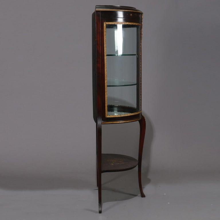 20th Century Antique French Louis XVI Mahogany and Ormolu Demilune Mirror Back Vitrine For Sale
