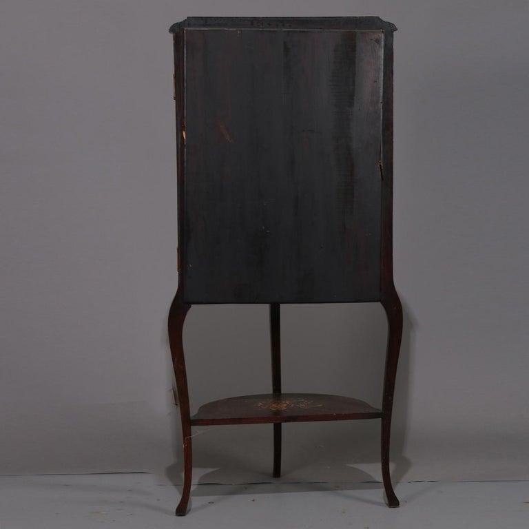 Antique French Louis XVI Mahogany and Ormolu Demilune Mirror Back Vitrine For Sale 1