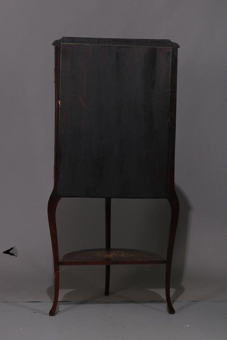Antique French Louis XVI Mahogany and Ormolu Demilune Mirror Back Vitrine For Sale 2