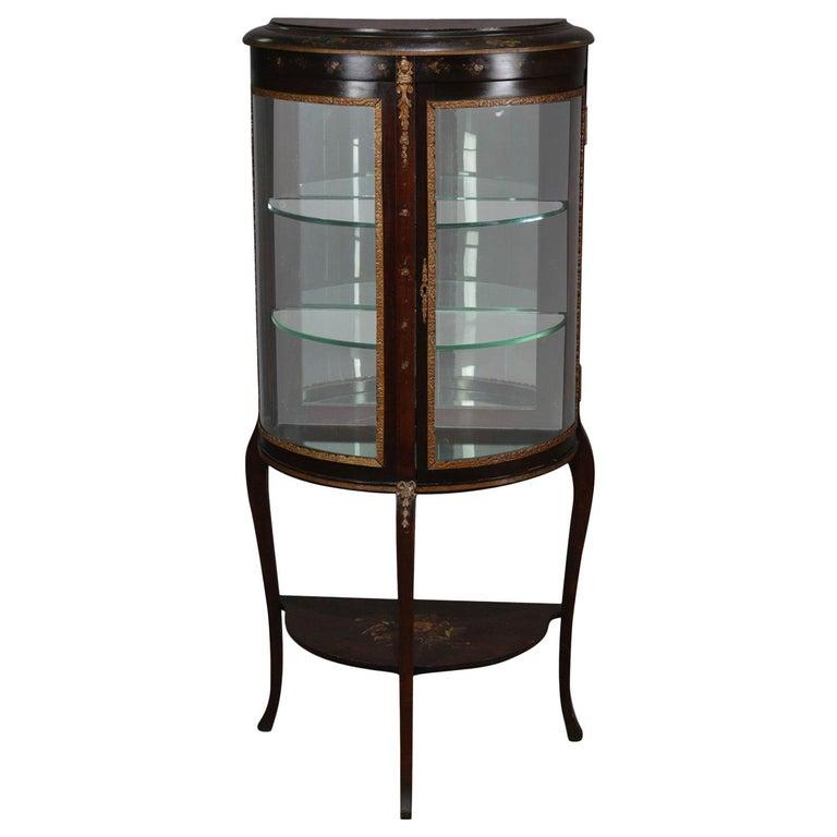 Antique French Louis XVI Mahogany and Ormolu Demilune Mirror Back Vitrine For Sale