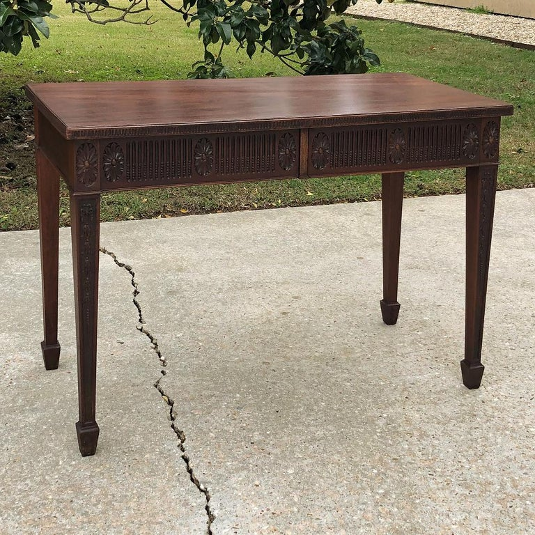 Hand-Carved Antique French Louis XVI Mahogany Console or Writing Table For Sale