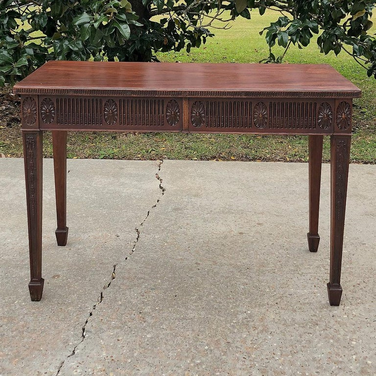 Antique French Louis XVI Mahogany Console or Writing Table In Good Condition For Sale In Dallas, TX