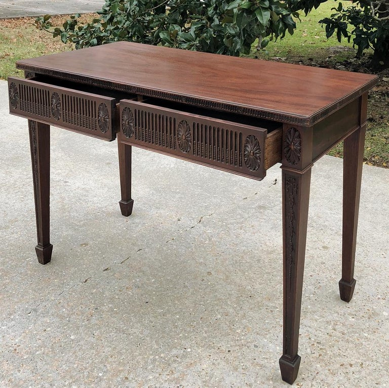 20th Century Antique French Louis XVI Mahogany Console or Writing Table For Sale